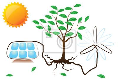 Plakat Koncepcyjne ilustracji wektorowych z energii słonecznej i wiatrowej