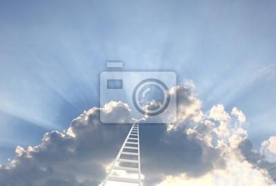 Koncepcyjne obrazu - 3d drabiny w niebie