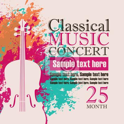 Plakat Koncert plakatu na koncert muzyki klasycznej z wizerunkiem skrzypiec na tle plamami koloru i krople