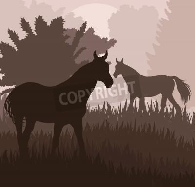 Plakat Konie w wektora pola tle plakatu