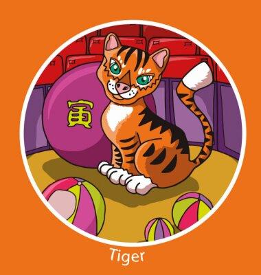 Plakat Konstrukcja cartoon znak chiński horoskop roku samodzielnie w okręgu z kolorowym tle