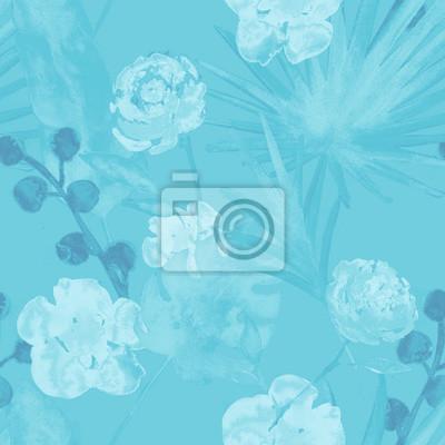 Plakat Kontrast turkusowy niebieski retro egzotyczne kwiatowy akwarela bezszwowe wzór. Tender Kobieta Tło Tkaniny z Bananem, Liści Wentylatora, Róże. Malowane kwiatowy akwarela bezszwowe wzór tropikalny wydr