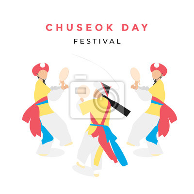 Plakat korean traditional dance with chuseok festival