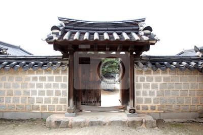 Plakat Koreański tradycyjny budynek: Jeonju, Korea Południowa - widok na wioskę Jeonju Hanok, Korea Południowa. Znane miejsce w Jeonju