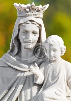 Plakat Koronowany posąg Matki Boskiej z dzieckiem z diffus