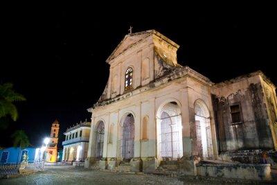 Plakat Kościół Świętej Trójcy w nocy, Trinidad, Kuba