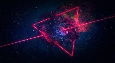 Plakat Kosmiczne abstrakcyjne tło, płonąca kometa, błysk, laser przez kamień, jasne kolory