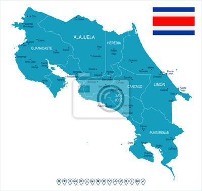 Plakat Kostaryka - mapa i flaga - Szczegółowa Wektorowa ilustracja