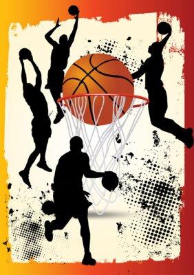 Plakat koszykarz skacze postawę z obręczy na grunge