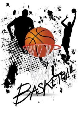 Plakat koszykarz w akcie na białym tle grunge