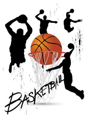 Plakat koszykarz w postawie skoki na białym