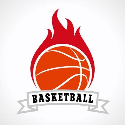 Plakat Koszykówka logo ogień