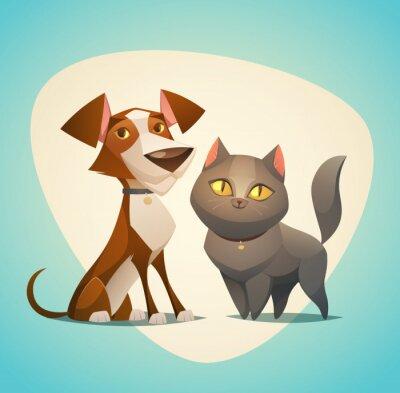 Plakat Kot i pies znaków. Cartoon stylu ilustracji wektorowych.