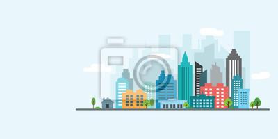 Plakat krajobraz miasta wektor