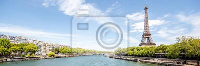 Plakat Krajobraz panoramiczny widok na wie? Y Eiffla i rzeki Sekwany w s? Oneczny dzie? W Pary? U