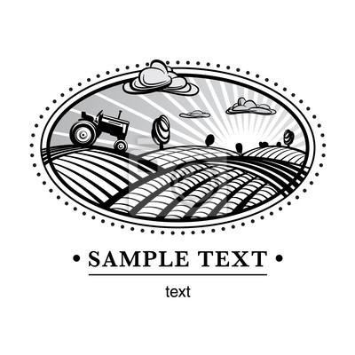 Krajobraz Rolnictwo, ilustracji stylu grawerowanie