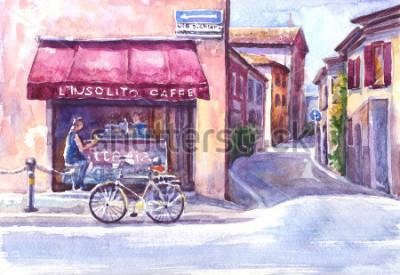 Plakat Krajobraz. Ulica w starym mieście. Włochy. Szkic akwarela.