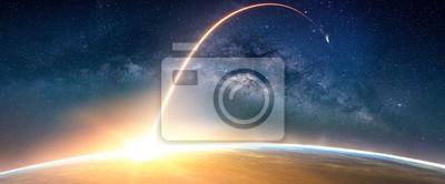Plakat Krajobraz z galaktyką Drogi Mlecznej. Wschód słońca i ziemi widok z kosmosu z galaktyki Drogi Mlecznej. (Elementy tego zdjęcia dostarczone przez NASA)