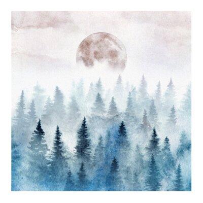 Plakat Krajobraz z mglistym lasem i wschodzącą księżyc. Ilustracja akwarela.