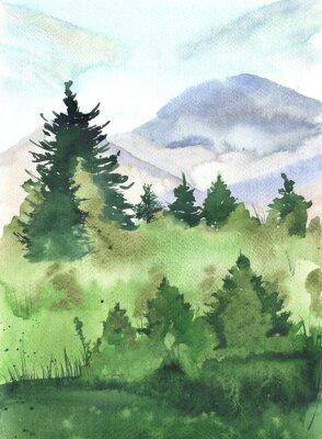 Plakat Krajobraz z sosny, góry i pole malowane akwarelą. Ręcznie rysowane ilustracji.