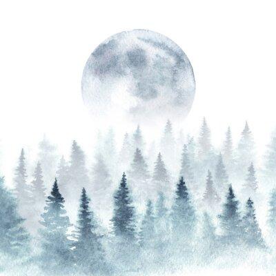 Plakat Krajobraz zimowy las i wschodząca księżyc. Drzewa znikają we mgle. Ilustracja akwarela.