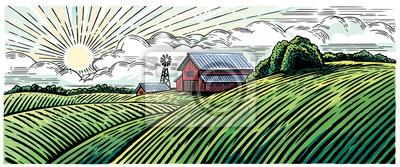 Krajobrazu wiejskiego z gospodarstwa w stylu grawerowania i malowane w kolorze.