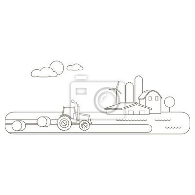 Krajobrazu wiejskiego z pola, ciągnik, gospodarstwo. Zarys ilustracji wektorowych krajobrazu wiejskiego. Zbioru w field.Vector wiejskiej ilustracji w stylu liniowym