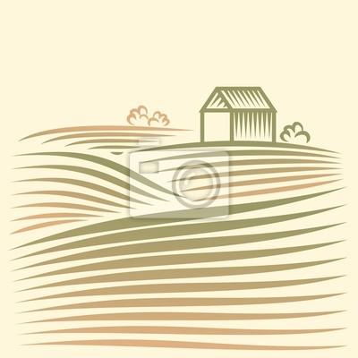 Krajobrazu wiejskiego z pola i domu
