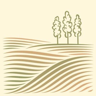 Krajobrazu wiejskiego z pola i drzewa