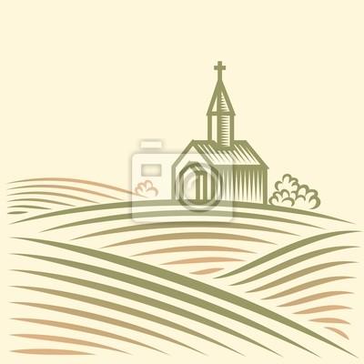 Krajobrazu wiejskiego z pola i kościoła