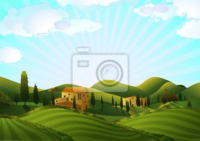 Krajobrazu wiejskiego z pola i wzgórza