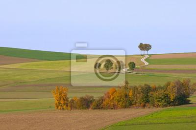 krajobrazu wiejskiego z pola w jesieni
