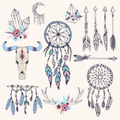 Plakat Kreatywne boho styl ramki mady pióra etniczne i ilustracji wektorowych elementów Floral.