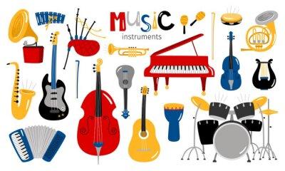 Plakat Kreskówki instrumenty muzyczne. Instrument muzyczny wektorowe ikony, rozrywki oprzyrządowania kolekcja odizolowywająca na białym tle