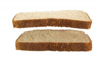 Plakat Kromka chleba pszennego zawieszone nad innym kromka chleba pszennego. Odosobniony.
