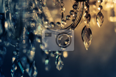 Plakat Kryształowy żyrandol z bliska. Seksowny tło z kopii przestrzeni