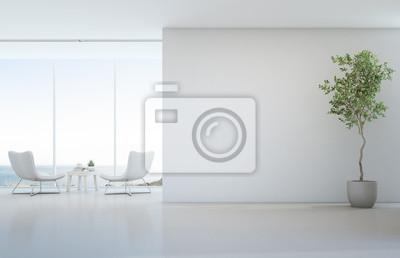 Plakat Kryty roślin na białej podłodze z pustym tle ściany betonowej, Salon i stolik w pobliżu okna szkła w widoku morza salon nowoczesny luksusowy dom na plaży lub hotel - ilustracja wnętrza domu 3d