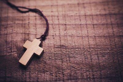 Plakat Krzyż na tle drewniane