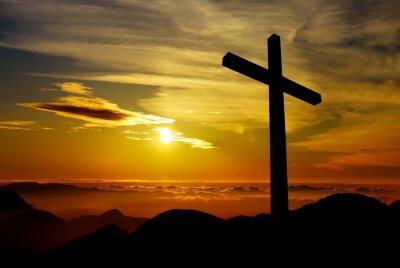 Plakat Krzyż na tle zachodu słońca