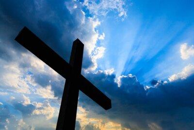 Plakat Krzyż sylwetka i błękitne niebo święty