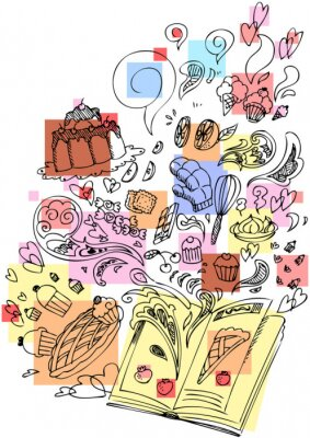 Plakat Książka pobieżny deser doodle gotowanie