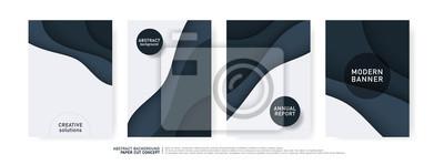 Plakat Kształty krzywej cięcia papieru. Nowoczesny design origami do prezentacji biznesowych, ulotki, plakaty, banery, broszury. ilustrator wektorowych