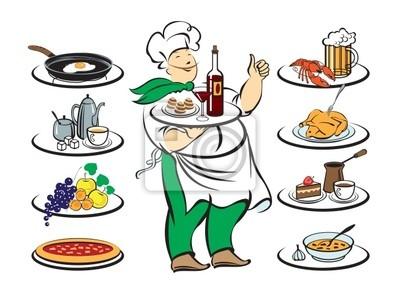 Plakat kuchnie kucharz z różnymi wersjami
