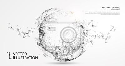 Plakat Kula abstrakcyjna, połączenie internetowe.