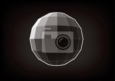 Plakat Kula o prostokątnych twarzach. Element graficzny do projektowania na czarnym tle