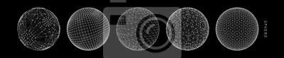 Plakat Kula z połączonymi liniami. Globalne połączenia cyfrowe. Ilustracja szkieletowa. Streszczenie projektu siatki 3d. Styl technologii.