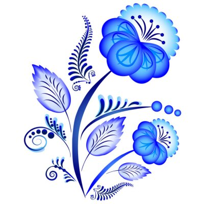 Plakat Kwiatowy ornament w stylu Gzhel. Rosyjski folklor