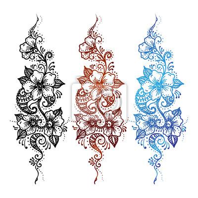 Plakat Kwiatowy Ornament Zestaw Mehndi Henna Tatuaż Czarny Brązowy