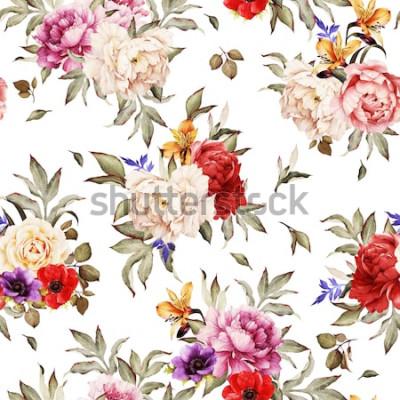 Plakat Kwiatowy wzór z piwonie, akwarela.