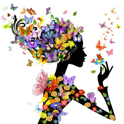 Plakat kwiaty, moda, dziewczyna z motylami